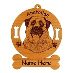 1282 Anatolian Head #2 Ornament Personalized with Your Dog's Name