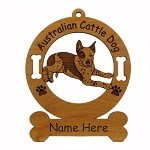 1298 Australian Cattle Dog Down Ornament Personalized with Your Dog's Name