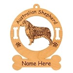 1386 Australian Shepherd Standing #2 Ornament Personalized with Your Dog's Name