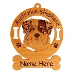 1387 Australian Shepherd Head #3 Ornament Personalized with Your Dog's Name