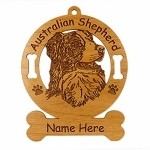 1398 Australian Shepherd Head 2 Ornament Personalized with Your Dog's Name