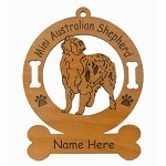 1412 Mini Australian Shepherd Standing Ornament Personalized with Your Dog's Name
