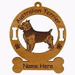 1424 Australian Terrier Standing Ornament Personalized with Your Dog's Name
