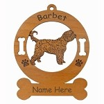 1434 Barbet Standing Ornament Personalized with Your Dog's Name