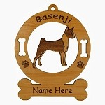 1437 Basenji Standing Ornament Personalized with Your Dog's Name