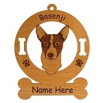 1449 Basenji Head #2 Ornament Personalized with Your Dog's Name