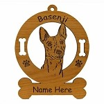 1463 Basenji Head Ornament Personalized with Your Dog's Name