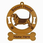 1480 Basset Hound Standing Ornament Personalized with Your Dog's Name