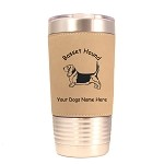 1480 Basset Hound Standing #1 20oz Polar Camel Tumbler with Lid Personalized with Your Dog's Name