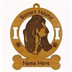 1493 Basset Hound Head Ornament Personalized with Your Dog's Name