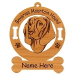 1501 Barvarian Mountain Hound Head Ornament Personalized with Your Dog's Name
