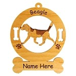 1508 Beagle Gaiting Ornament Personalized with Your Dog's Name
