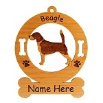 1518 Beagle Standing #4 Ornament Personalized with Your Dog's Name