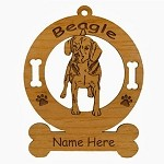 1519 Beagle Standing #2 Ornament Personalized with Your Dog's Name
