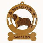 1545 Bearded Collie Standing Ornament Personalized with Your Dog's Name