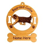 1546 Bearded Collie Gaiting Ornament Personalized with Your Dog's Name