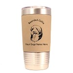 1558 Bearded Collie Head 20oz Polar Camel Tumbler with Lid Personalized with Your Dog's Name