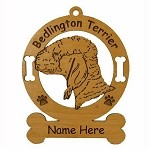 1584 Bedlington Terrier Head Ornament Personalized with Your Dog's Name