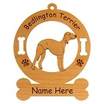 1588 Bedlington Terrier Standing #2 Ornament Personalized with Your Dog's Name