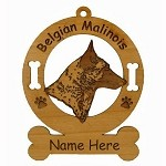 1610 Belgian Malinois Head Ornament Personalized with Your Dog's Name