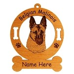 1622 Belgian Malinois Head #2 Ornament Personalized with Your Dog's Name