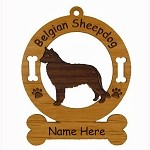 1636 Belgian Sheepdog Standing Ornament Personalized with Your Dog's Name