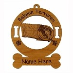 1650 Belgian Tervuren Tunnel Ornament Personalized with Your Dog's Name