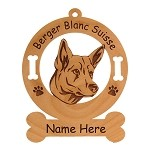 1705 Berger Blanc Suisse Head Ornament Personalized with Your Dog's Name