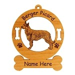 1707 Berger Picard Standing #2 Ornament Personalized with Your Dog's Name