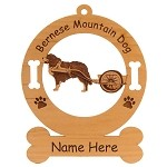 1715 Bernese Mountain Dog with Cart Ornament Personalized with Your Dog's Name