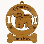 1740 Bichon Frise Standing Ornament Personalized with Your Dog's Name