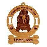 1764 Black and Tan Coonhound Head #2 Ornament Personalized with Your Dog's Name