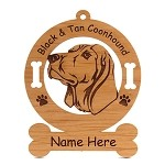 1765 Black and Tan Coonhound Head #1 Ornament Personalized with Your Dog's Name