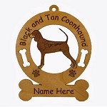 1766 Black and Tan Coonhound Standing Ornament Personalized with Your Dog's Name