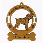 1779 Black Russian Terrier Standing Ornament Personalized with Your Dog's Name