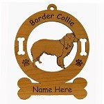 1818 Border Collie Standing Ornament Personalized with Your Dog's Name