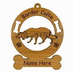 1831 Border Collie Crouching Ornament Personalized with Your Dog's Name