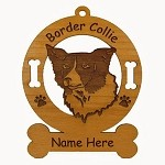 1844 Border Collie Head Ornament Personalized with Your Dog's Name