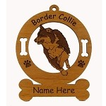1845 Border Collie Herding 1 Ornament Personalized with Your Dog's Name