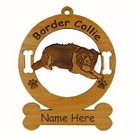 1870 Border Collie Crouching Ornament Personalized with Your Dog's Name