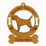 1896 Border Terrier Standing Ornament Personalized with Your Dog's Name