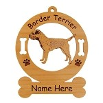 1908 Border Terrier Standing #3 Ornament Personalized with Your Dog's Name