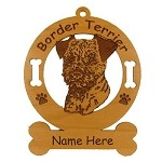 1909 Border Terrier Head Ornament Personalized with Your Dog's Name