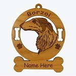 1910 Borzoi Head Ornament Personalized with Your Dog's Name