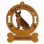 1922 Boston Terrier Sitting Ornament Personalized with Your Dog's Name