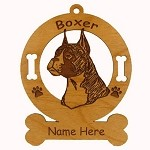 1948 Boxer Head Cropped Ornament Personalized with Your Dog's Name