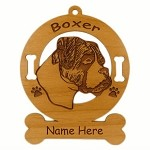 1949 Boxer Head Uncropped Ornament Personalized with Your Dog's Name