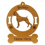 1950 Boxer Standing Uncropped Ornament Personalized with Your Dog's Name