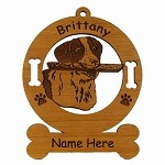 1991 Brittany Head Ornament Personalized with Your Dog's Name