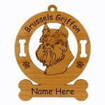 2005 Brussels Griffon Head Ornament Personalized with Your Dog's Name
